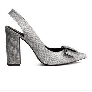 H&M sparkle glitter Bow heels pointy toe chunky 39